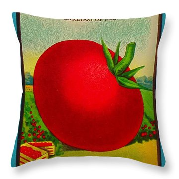 Tomato Seed Package. Antique. 100 Years Old Throw Pillow