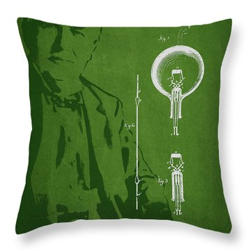 Thomas Edison Electric Lamp Patent Drawing From 1880 Throw Pillow