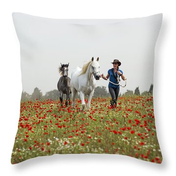Three At The Poppies' Field... 3 Throw Pillow