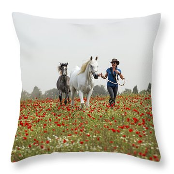 Three At The Poppies' Field... 3 Throw Pillow by Dubi Roman