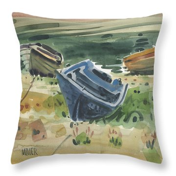 Three Boats Throw Pillow by Donald Maier