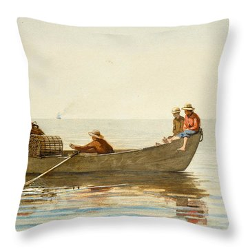 Three Boys In A Dory With Lobster Pots Throw Pillow by Winslow Homer