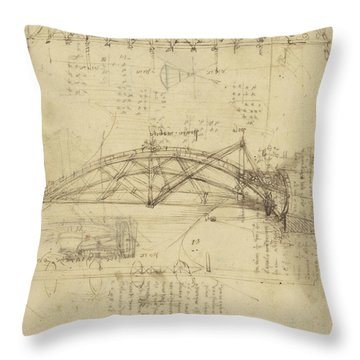 Three Kinds Of Movable Bridge Throw Pillow by Leonardo Da Vinci