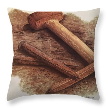 Three Rusty Nails Throw Pillow by Mickey Clogher