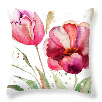 Three Tulips Flowers  Throw Pillow