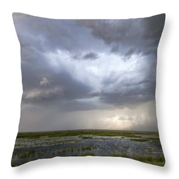 Throw Pillow featuring the photograph Thunderstorm Over Cheyenne Bottoms by Rob Graham
