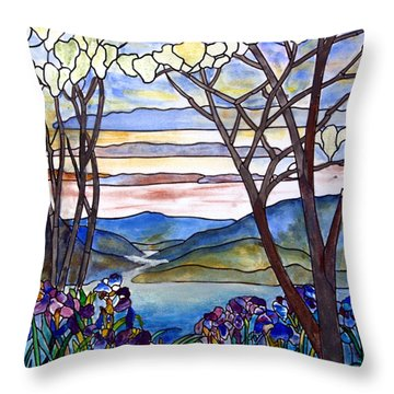 Stained Glass Tiffany Frank Memorial Window Throw Pillow by Donna Walsh