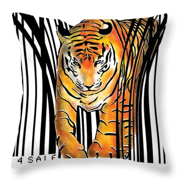 Tiger Barcode Throw Pillow