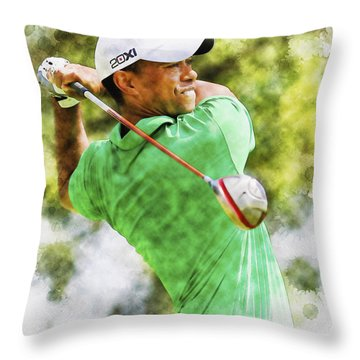 Tiger Woods Hits A Drive  Throw Pillow