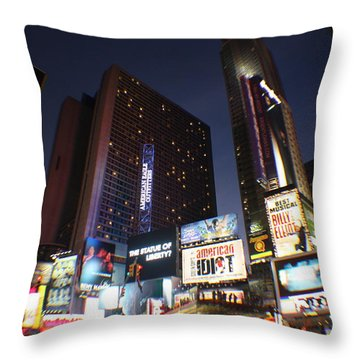 Times Square Nyc Throw Pillow by Rogerio Mariani