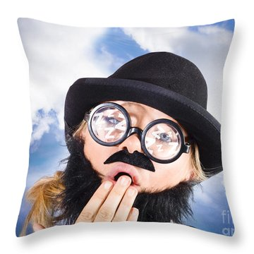 Tired Man With Day Sleeping With Insomnia Throw Pillow