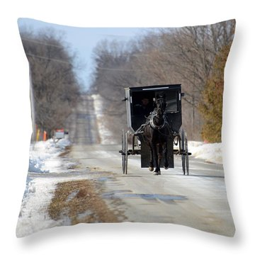 Throw Pillow featuring the photograph To Market by Linda Mishler