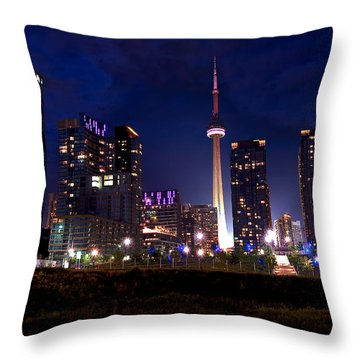 Toronto By Night Throw Pillow