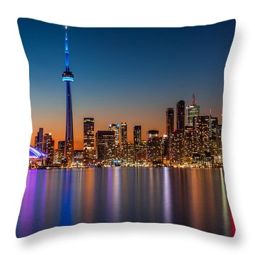 Throw Pillow featuring the photograph Toronto Skyline At Dusk by Mihai Andritoiu
