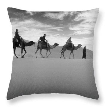 Tourists Riding Camels Throw Pillow