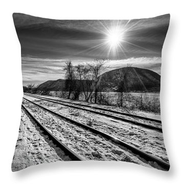 Throw Pillow featuring the photograph Tracks Along The Hudson by Rafael Quirindongo