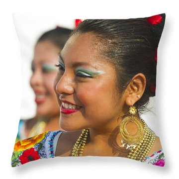 Traditional Ethnic Dancers In Chiapas Mexico Throw Pillow by David Smith