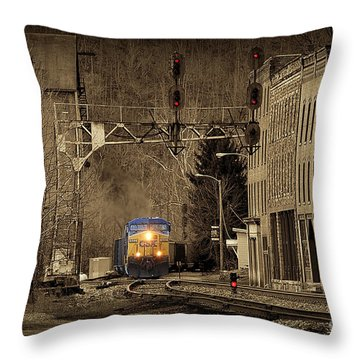 Train At Thurmond Wv Throw Pillow by Dan Friend