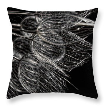 Silver Flowers Throw Pillow