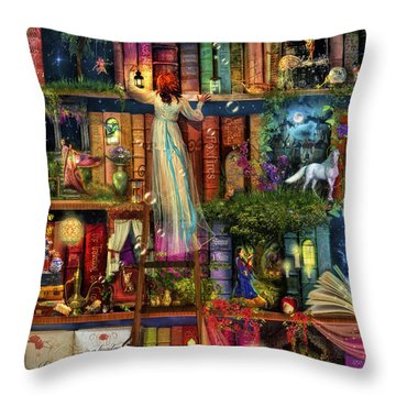 Treasure Hunt Book Shelf Throw Pillow