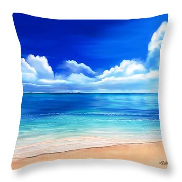 Throw Pillow featuring the digital art Tropical Blue by Anthony Fishburne