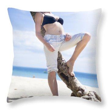 Tropical Island Paradise Throw Pillow
