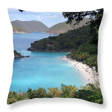 A Happy Trunk Bay Throw Pillow