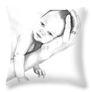 Throw Pillow featuring the drawing Trusting Innocence by Patricia Hiltz