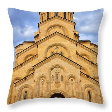 Tsminda Sameba Cathedral Tbilisi Throw Pillow by Robert Preston