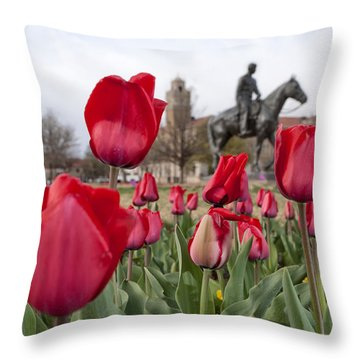 Tulips At Texas Tech University Throw Pillow by Melany Sarafis