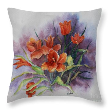 Tulips Throw Pillow by Janet Felts