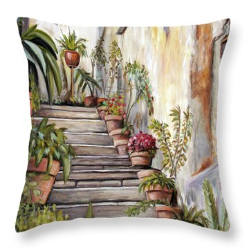 Tuscan Steps Throw Pillow by Melinda Saminski
