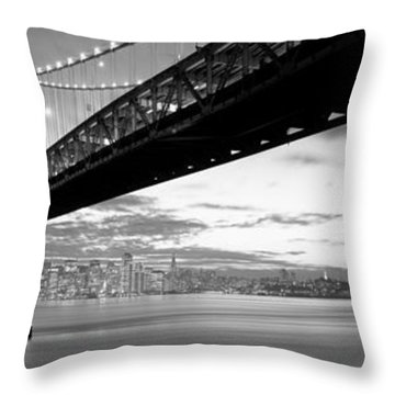 Twilight, Bay Bridge, San Francisco Throw Pillow