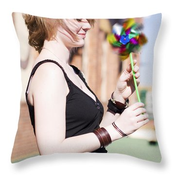 Twirling Toy Turbine Throw Pillow