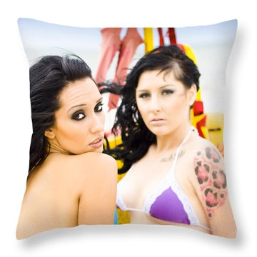 Two Female Surfers Throw Pillow