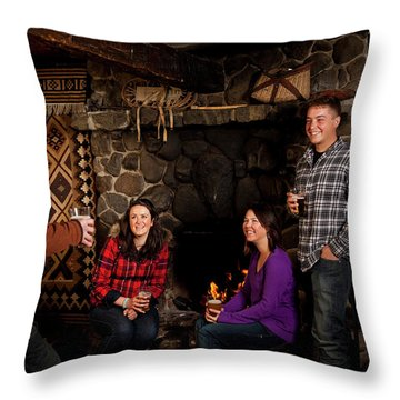 Two Men And Two Women Drinking Beer Throw Pillow
