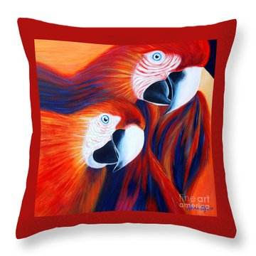 Throw Pillow featuring the painting Two Parrots. Inspirations Collection. by Oksana Semenchenko