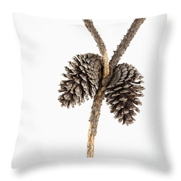 Two Pine Cones One Twig Throw Pillow