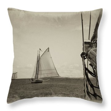 Two Schooners Throw Pillow