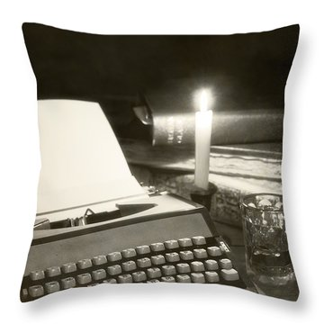 Typewriter By Candlelight Throw Pillow by Amanda Elwell