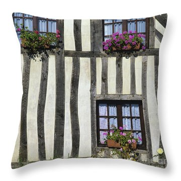 Typical House  Half-timbered In Normandy. France. Europe Throw Pillow by Bernard Jaubert