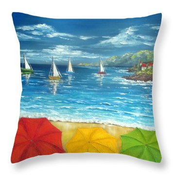 Umbrella Beach Throw Pillow
