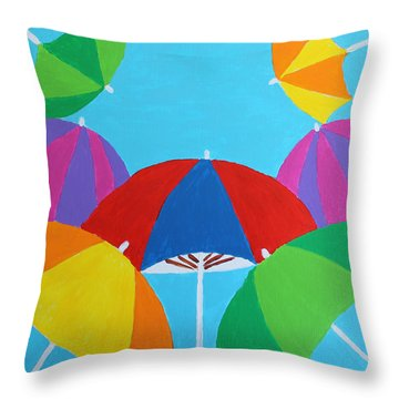 Throw Pillow featuring the painting Umbrellas by Deborah Boyd