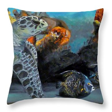 Throw Pillow featuring the painting Underwater Beauty by Donna Tuten