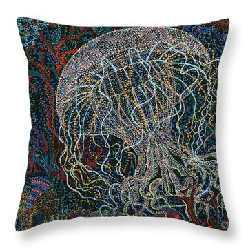 Undulating Throw Pillow by Erika Pochybova