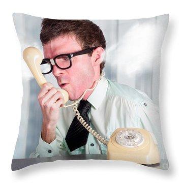 Unhappy Nerd Businessman Yelling Down Retro Phone Throw Pillow