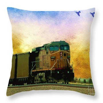 Throw Pillow featuring the photograph Union Pacific Coal Train by Janette Boyd