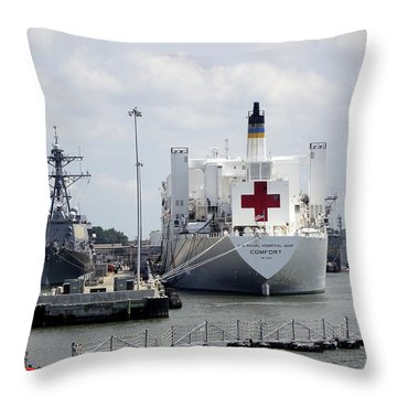 Us Naval Hospital Ship Comfort Throw Pillow