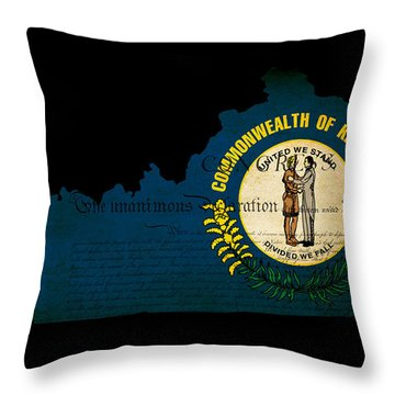 Usa American Kentucky State Map Outline With Grunge Effect Flag  Throw Pillow by Matthew Gibson