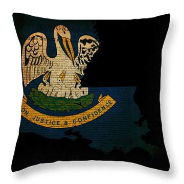 Usa American Louisiana State Map Outline With Grunge Effect Flag Throw Pillow by Matthew Gibson